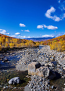 Autumn foliage and the Pemigewasset River, Lincoln, New Hampshire, USA.