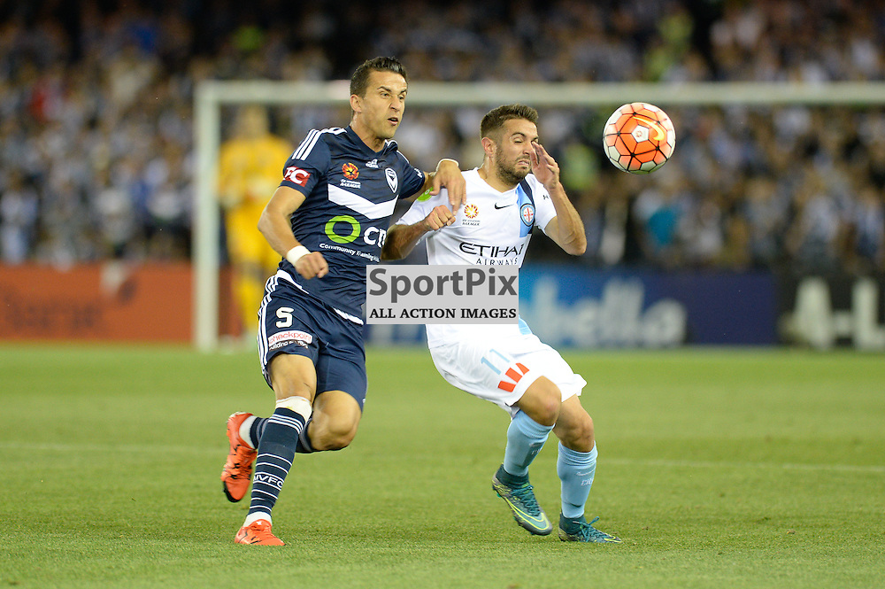 "Daniel Georgievski of Melbourne Victory, Michael Zullo of Melbourne City - Hyundai A-League - October 17th 2015 - ROUND 2- Melbourne Victory FC v Melbourne City FC in the first derby for the 2015 season with a 3:2 win to Victory on the 90"" - © Mark Avellino 