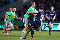 Rugby Union - 2018 / 2019 Gallagher Premiership - Sale Sharks vs. Harlequins<br /> <br /> Matt Symons of Harlequins is tackled by Luke James of Sale Sharks, at the AJ Bell Stadium.<br /> <br /> COLORSPORT/PAUL GREENWOOD