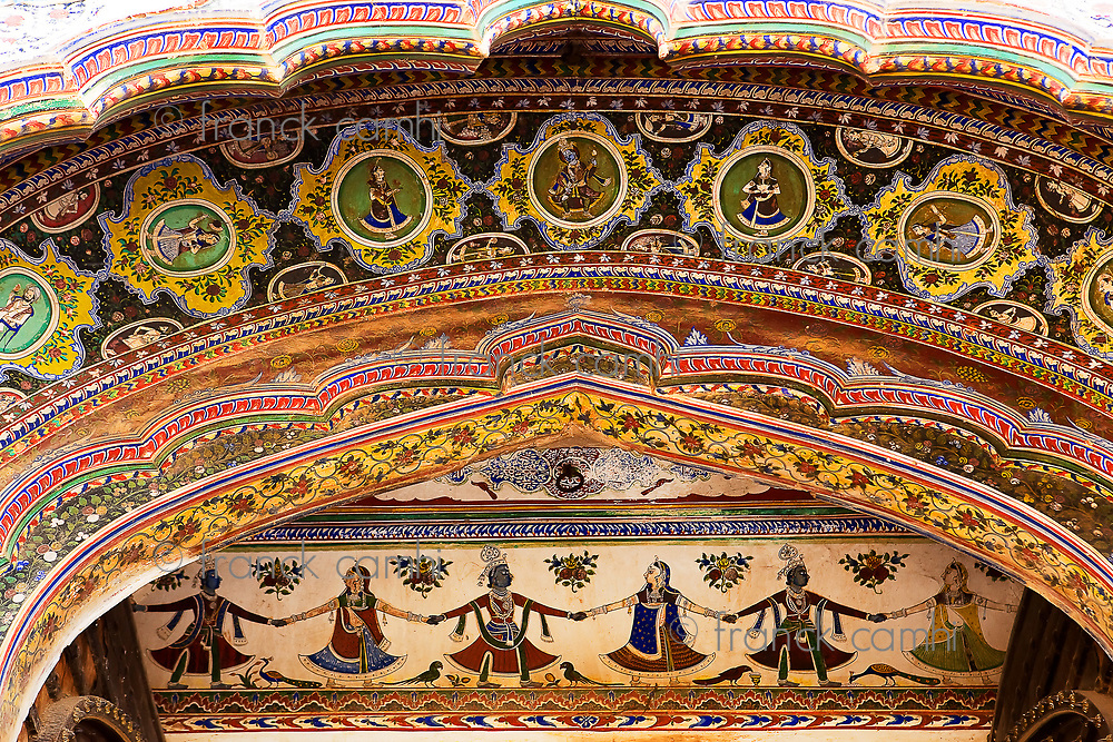 ceramic drawing in an entrance wall in the old city of Bikaner rajasthan state in indi