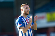 6th October 2018, Dens Park, Dundee, Scotland; Ladbrokes Premiership football, Dundee versus Kilmarnock; Jack Byrne of Kilmarnock applauds the fans at the end of the match