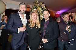 Left to right, ANDY NEWMAN, SINCLAIR SELLARS and GETHIN JONES at a party to celebrate the new partnership of Maids to Measure with Touker Suleyman held in The Winter Marquee, Home House, 20 Portman Square, London on 2nd March 2016.