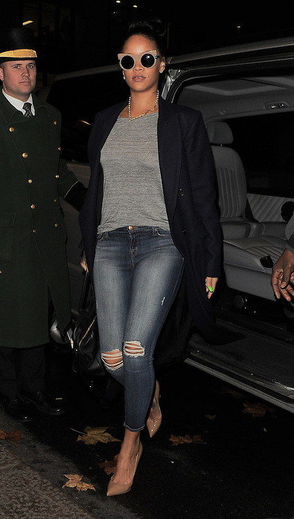 Singer Rihanna leaving Hakkasan restaurant after having a late lunch with Naomi Campbell in Mayfair, London, UK. 02/12/2014<br />
