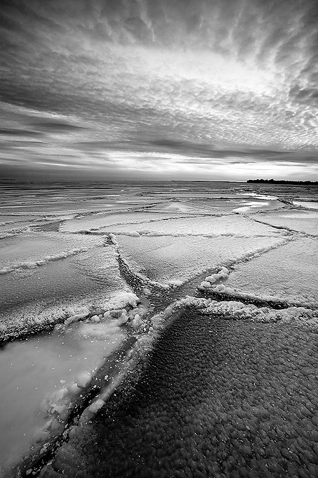 Patterns, Cracks and Textures on the surface of frozen Lake Ontario in winter,  Kingston, Ontario, Canada