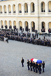 October 5, 2018 - Paris, France, - France paid tribute to Charles Aznavour in a solemn ceremony in Paris, where  French president Macron welcomed politicians and celebrities near the site of Napoleon's tomb in the courtyard of Les Invalides. One of France's most famous personalities, Aznavour died earlier this week at 94. (Credit Image: © Panoramic via ZUMA Press)