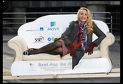 Jerry Hall  relaxes on a sofa that was carried for 10 miles around London to raise money for the homelessness charity Emmaus , Thursday, 17th November 2011. The former supermodel is patron of the charity.  Photo by: Stephen Lock / i-Images