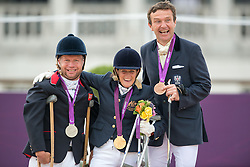 (L-R) Lee Pearson (GBR, silver), Joann Formosa (AUS, gold) and Pepo Puch (AUT, bronze)<br /> Individual Championship Test  - Grade Ib <br /> London 2012 Paralympic Games<br /> © Hippo Foto - Jon Stroud