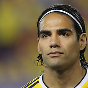 Radamel Falcao, Columbia, during the Columbia Vs Canada friendly international football match at Red Bull Arena, Harrison, New Jersey. USA. 14th October 2014. Photo Tim Clayton