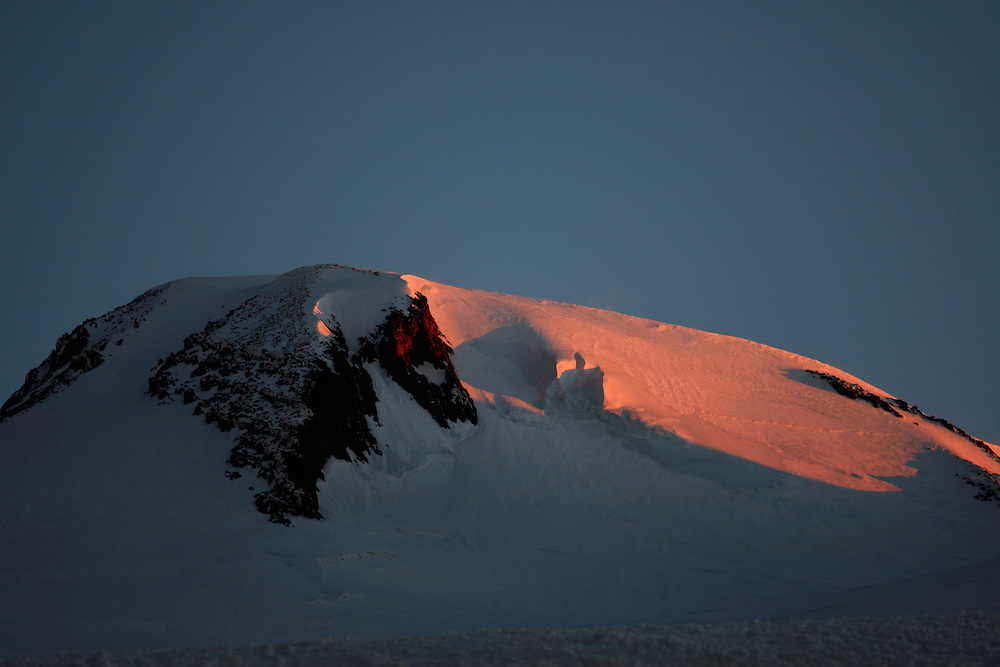 Russia, Caucasus, first red light on Mount Elbrus (5642 m asl), the highest mountain of Europe