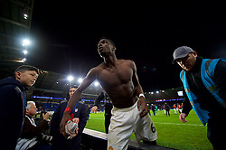 CARDIFF, WALES - Saturday, December 22, 2018: Manchester United's Paul Pogba throws his shirt into the crowd as he celebrates after the FA Premier League match between Cardiff City FC and Manchester United FC at the Cardiff City Stadium. Manchester United won 5-1.(Pic by Vegard Grøtt/Propaganda)