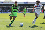 Forest Green Rovers Kaiyne Woolery(14) sprints forward during the Vanarama National League Play Off second leg match between Forest Green Rovers and Dagenham and Redbridge at the New Lawn, Forest Green, United Kingdom on 7 May 2017. Photo by Shane Healey.