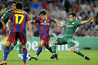 FOOTBALL - CHAMPIONS LEAGUE 2010/2011 - GROUP STAGE - GROUP D - FC BARCELONA v PANATHINAIKOS - 14/09/2010 - PHOTO JEAN MARIE HERVIO / DPPI - BOJAN KRKIC (FCB) / STERGOS MARINOS (PAN)