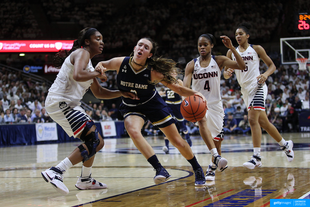 Marina Mabrey, Notre Dame, attempts to drive past Morgan Tuck, UConn, during the Notre Dame Vs UConn Women's Basketball game at Grampel Pavilion, Storrs, Connecticut, USA. 5th December 2015. Photo Tim Clayton
