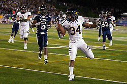 September 17, 2010; Reno, NV, USA; California Golden Bears running back Shane Vereen (34) scores a touchdown during the first quarter against the Nevada Wolf Pack at Mackay Stadium. Nevada defeated California 52-31.