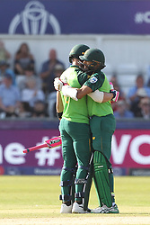 June 28, 2019 - Chester Le Street, County Durham, United Kingdom - South Africa's Faf du Plessis and Hashim Amla hug after winning the ICC Cricket World Cup 2019 match between Sri Lanka and South Africa at Emirates Riverside, Chester le Street on Friday 28th June 2019. (Credit Image: © Mi News/NurPhoto via ZUMA Press)
