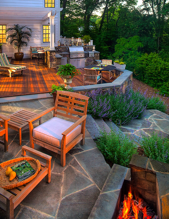 Outdoor living with grill, deck,firepit and furniutre