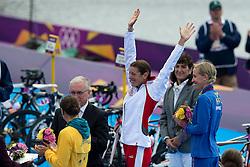 04.08.2012, Hyde Park, London, GBR, Olympia 2012, Triathlon Damen, im Bild Uebersicht Siegerehrung Erin Densham (AUS), Olympiasiegerin Nicola Spirig (SUI) und Lisa Norden (SWE) // during Triahtlon Women, at the 2012 Summer Olympics at the Hyde Park, London, United Kingdom on 2012/08/04. EXPA Pictures © 2012, PhotoCredit: EXPA/ Freshfocus/ Valeriano Di Domenico..***** ATTENTION - for AUT, SLO, CRO, SRB, BIH only *****
