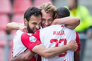 UTRECHT, FC Utrecht - Vitesse, voetbal, Eredivisie seizoen 2015-2016, 13-09-2015, Stadion De Galgenwaard, FC Utrecht speler Willem Janssen (M) heeft de 1-0 gescoord, FC Utrecht speler Nacer Barazite (L), FC Utrecht speler Sebastien Haller (R).