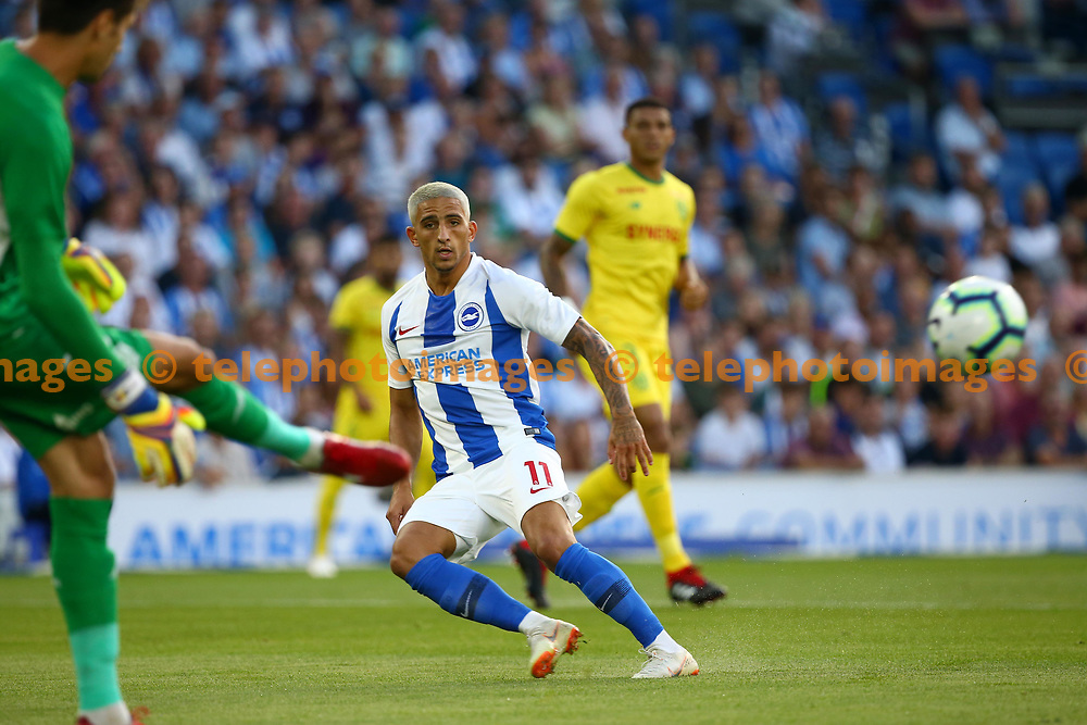 Anthony Knockaert of Brighton during the pre season friendly between Brighton and Hove Albion and FC Nantes at the American Express Community Stadium in Brighton. 03 Aug 2018