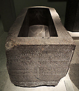 Sarcophagus case of Djehapimu, royal audit officer 746-332 BC granite.