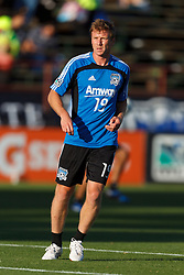 July 20, 2011; Santa Clara, CA, USA;  San Jose Earthquakes forward/midfielder Ryan Johnson (19) warms up before the game against the Vancouver Whitecaps at Buck Shaw Stadium. San Jose tied Vancouver 2-2.