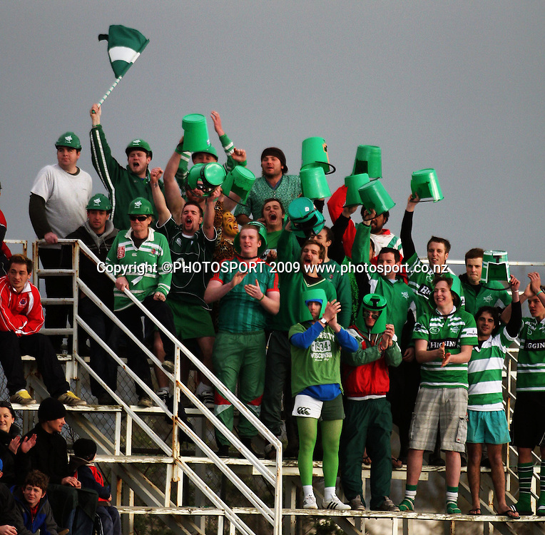 The Bucketheads celebrate.<br /> Air NZ Cup rugby - Manawatu Turbos v Counties-Manukau Steelers at FMG Stadium, Palmerston North, New Zealand, Sunday, 2 August 2009. Photo: Dave Lintott/PHOTOSPORT