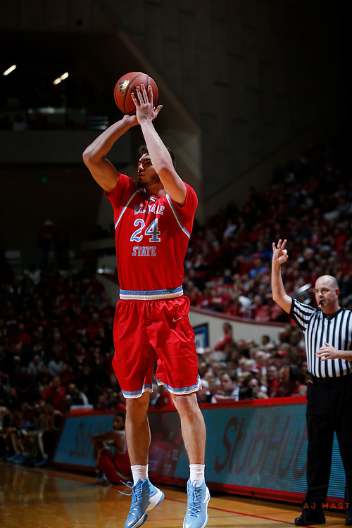 Delaware State forward Artem Tavakalyan (24) in action as Delaware State played Indiana in an NCCA college basketball game, in Indianapolis, Monday, Dec. 19, 2016. (AJ Mast)