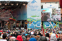 Damian Jr. Gong Marley plays in Whistler Village Square to a lively audience during the 2010 Olympic Winter Games in Whistler, BC Canada.