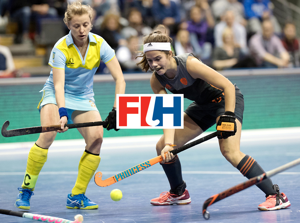 BERLIN - Indoor Hockey World Cup<br /> SF1 Netherlands - Ukraine<br /> foto: Noor de Baat  <br /> WORLDSPORTPICS COPYRIGHT FRANK UIJLENBROEK