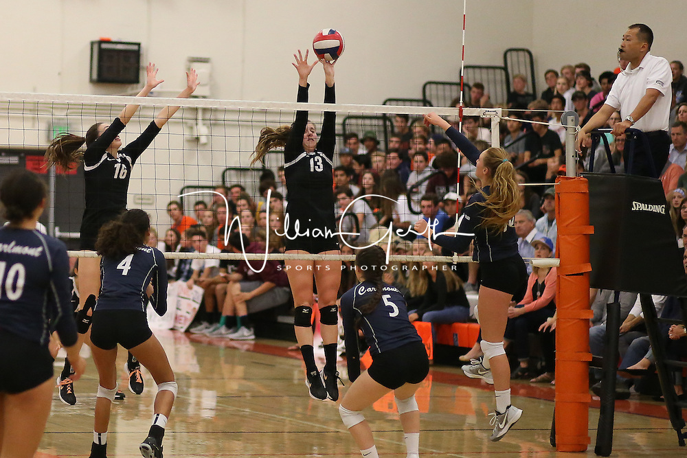 (Photograph by Bill Gerth for SVCN) Los Gatos #16 Kiana Pelton and #13 Alexandra Stracey defend the net vs Carlmont in a CCS Division 1 Semi Final Girls Volleyball Game at Los Gatos High School, Los Gatos CA on 11/9/16.  (Los Gatos defeated Carlmont 3-0, 25-21, 25-17, 25-16)