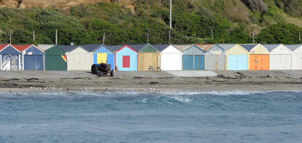 Boatsheds, seashore, Titahi Bay, Wellington, New Zealand, Thursday, July 18, 2013. Credit:SNPA / Ross Setford