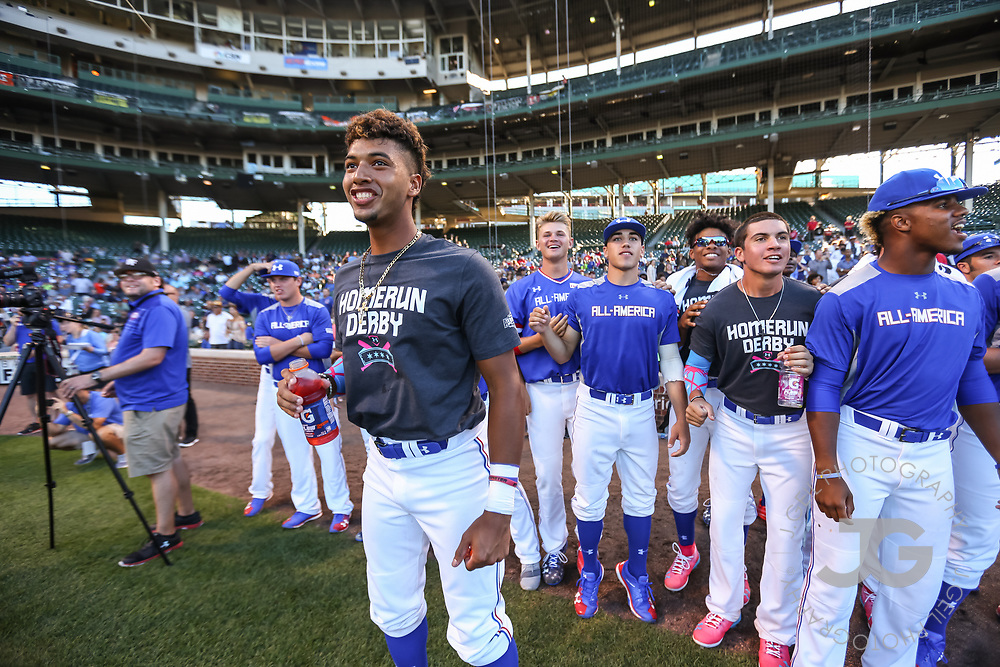 CHICAGO, IL - JULY 29:  Nander De Sedas participates in the Home Run Derby at the Under Armour All-America Game at Wrigley Field on Saturday, July 29, 2017 in Chicago, Illinois. (Photo by J. Geil/MLB Photos via Getty Images) *** Local Caption ***