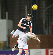 Dundee&rsquo;s Kostadin Gadzhalov heads clear from Ross County&rsquo;s Liam Boyce - Dundee v Ross County in the Ladbrokes Scottish Premiership at Dens Park, Dundee. Photo: David Young<br /> <br />  - &copy; David Young - www.davidyoungphoto.co.uk - email: davidyoungphoto@gmail.com