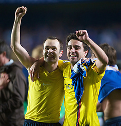 LONDON, ENGLAND - Wednesday, May 6, 2009: Barcelona's match-winner Andres Iniesta celebrates with captain Xavi Hernandez after a dramatic injury time winning away goal defeated Chelsea during the UEFA Champions League Semi-Final 2nd Leg match at Stamford Bridge. (Photo by David Rawcliffe/Propaganda)