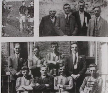 "left: the toss in 1926. Referee, P McCullagh Wexford, Dick Grace (Kilkenny) and Sean Og Murphy (Cork). .right: On the 29th August 1926 the first sports event to be broadcast in Europe by 2RN (Radio Eireann) was the All-Ireland Semifinal between Kilkenny and Galway. The commentator was P  D Mehigan better known as ""Carbery"". Carbery was on the 1902 London team that lost the 1902 hurling final to Cork. The photo shows John Walsh, Chairman of Thurles Grounds, Tom Semple (Thurles Blues), Phil O'Neill ""Sliabh Rua"" (Kilkenny Journal), P D Mehigan ""Carbery"". .bottom: The three Meagher brothers, Lory, Henry and Bill, were on the Kilkenny team in 1926. Back Row: Willie Maher, Martin Power, Lory Meagher, Denis Grace. Front Row: Henny Meagher, Fr Lyng, Dick Grace, Bill Meagher."