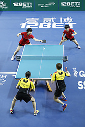 February 23, 2018 - London, England, United Kingdom - ITTF Team World Cup match between Hyo Sim CHA and Nam Hae KIM of Hong Kong China and Hsien-Tsu CHENG Shu-Yu CHEN of DPR Korea, Quarter Finals Women doubles match on February 23, 2018 in Copper Box Arena, Olympic Park, London. (Credit Image: © Dominika Zarzycka/NurPhoto via ZUMA Press)