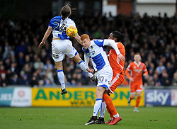 Stuart Sinclair and Rory Gaffney of Bristol Rovers battle for the ball - Mandatory by-line: Neil Brookman/JMP - 03/02/2018 - FOOTBALL - Memorial Stadium - Bristol, England - Bristol Rovers v Shrewsbury Town - Sky Bet League One