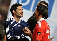 20100125: LISBON, PORTUGAL - 7th Charity Football Match against Poverty: SL Benfica All Stars vs Zidane & Kaka Friends. All the money rose from ticket sales and donations will go to the victims of Haiti Earthquake. In picture: Luis Figo and Nuno Gomes. PHOTO: Alvaro Isidoro/CITYFILES