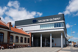 Exterior of Szczecin Główny railway station in Poland