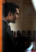 Ed Westwick appears on set while filming Gossip Girl at Kellari Taverna in New York City on November 30, 2009.