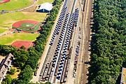 Nederland, Noord-Holland, Gemeente Huizen, 29-06-2018; Stapelplaats Crailoo, opslagplaats van Railpro B.V. van bouwmaterialen voor spoorwegen.<br /> <br /> aerial photo (additional fee required);<br /> copyright foto/photo Siebe Swart