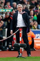 Stoke City Manager Mark Hughes looks on - Photo mandatory by-line: Rogan Thomson/JMP - 07966 386802 - 01/01/2015 - SPORT - FOOTBALL - Stoke-on-Trent, England - Britannia Stadium - Stoke City v Manchester United - New Year's Day Football - Barclays Premier League.