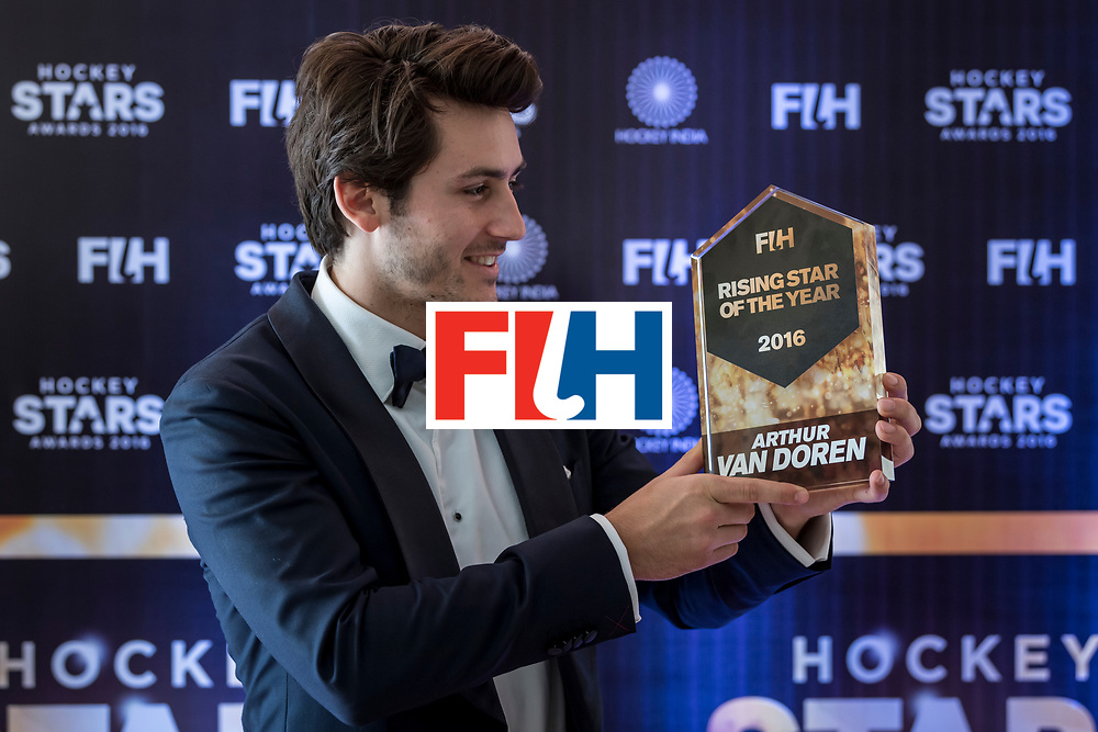 CHANDIGARH, INDIA - FEBRUARY 23: FIH Male Rising Star of the Year Arthur Van Doren of Belgium poses for a picture during the FIH Hockey Stars Awards 2016 at Lalit Hotel on February 23, 2017 in Chandigarh, India. (Photo by Ali Bharmal/Getty Images for FIH)