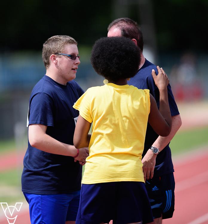 Metro Blind Sport's 2017 Athletics Open held at Mile End Stadium.  200m Senior Men - Final.  Matthew Boulding, left, with Vanja Sudar with guide runner<br /> <br /> Picture: Chris Vaughan Photography for Metro Blind Sport<br /> Date: June 17, 2017