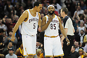 March 29, 2010; Cleveland, OH, USA; Cleveland Cavaliers center Ryan Hollins (5) celebrates with Cleveland Cavaliers point guard Baron Davis (85) during the fourth quarter against the Miami Heat at Quicken Loans Arena. The Cavaliers beat the Heat 102-90. Mandatory Credit: Jason Miller-US PRESSWIRE