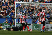 Southampton midfielder Sadio Mane (10)  misses with Leicester City goalkeeper Kasper Schmeichel (1)  stranded  during the Barclays Premier League match between Leicester City and Southampton at the King Power Stadium, Leicester, England on 3 April 2016. Photo by Simon Davies.