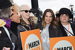 © Licensed to London News Pictures. 05/03/2017. LONDON, UK.  Mel C with Annie Lennox and feminist activists take part in the March4Women, organised by CARE International to mark International Women's Day. The Women's Day March begins at The Scoop near City Hall, before proceeding over Tower Bridge and finishing at the Tower of London. Photo credit: Vickie Flores/LNP