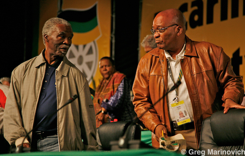 African National Congress former deputy Jacob Zuma is announced as having won the election to party president by some 824 votes aginst incumbant Thabo Mbeki, Polokwane South Africa 18 Dec 2007. Photographer  Greg Marinovich