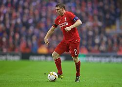LIVERPOOL, ENGLAND - Thursday, November 26, 2015: Liverpool's James Milner in action against FC Girondins de Bordeaux during the UEFA Europa League Group Stage Group B match at Anfield. (Pic by David Rawcliffe/Propaganda)