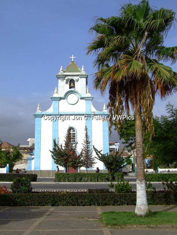 Santo Ámaro Abade church, a Roman Catholic church, in Tarrafal, on the island of Santiago, Republic of Cabo Verde.